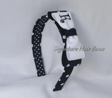 Navy Polka Dot Tuxedo Bow Headband