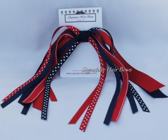 Navy and Red Ponytail Streamers