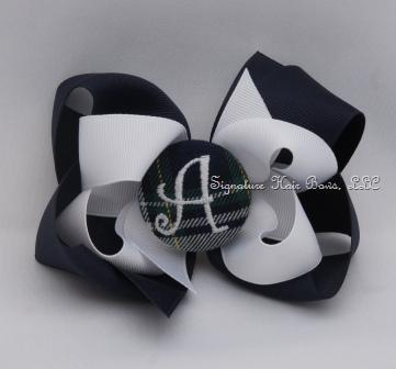 School Uniform Monogrammed Button Bow - Navy