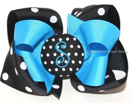 Panthers Monogrammed Button Bow