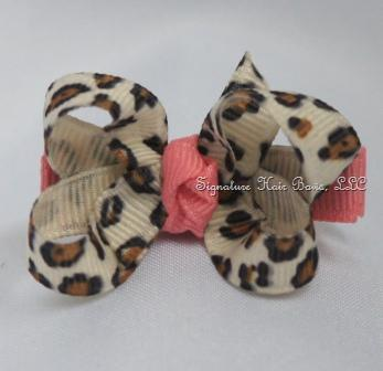 Peach Leopard Baby Bow