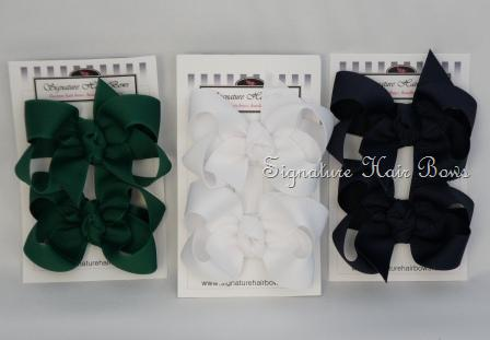 School Uniform 3 Pigtail Set - Hunter Green and Navy