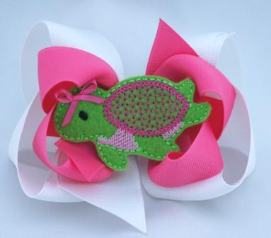 Pink Double Layer Sea Turtle Hair Bow