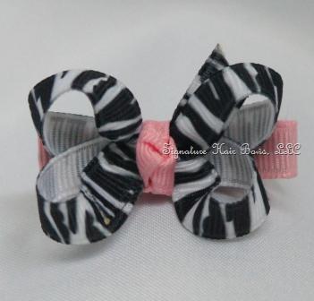 Pink Zebra Baby Bow