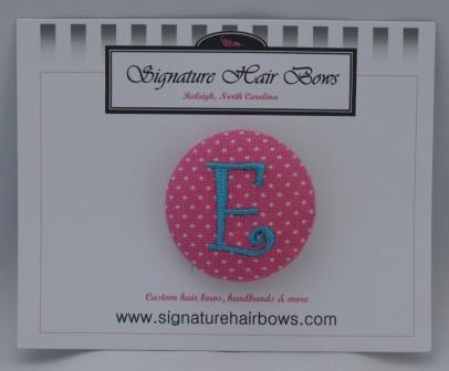 Button Ponytail - Hot Pink Dots