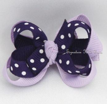 Purple Princess Dots Layered Baby Bow