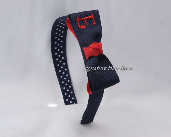 School Uniform Monogrammed Tuxedo Headband- navy/red