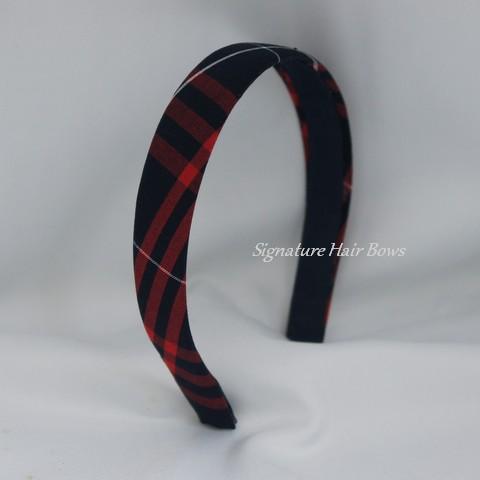 Red and Navy Plaid School Uniform Headband