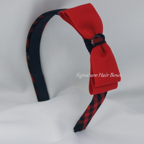 Red and Navy School Uniform Plaid Headband with Bow