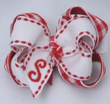 Red and White Gingham Monogrammed Baby Bow