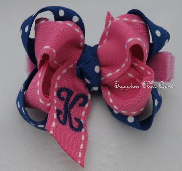 School Girls Polka Dots Monogrammed Baby Bow