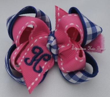 School Girl Gingham Monogrammed Baby Bow