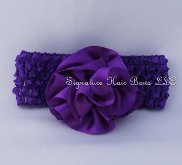 Satin Rose Crochet Headband