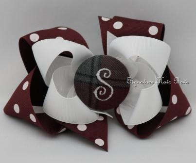 School Uniform Monogrammed Button Bow - Maroon Dots