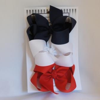 Girls School Uniform Set - Navy, red, and white