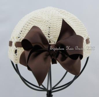 Signature Baby Cap - Ivory with Brown Satin