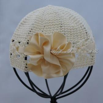 Signature Baby Cap - Ivory with Satin Rose
