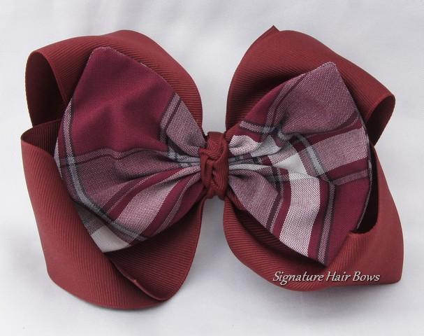 Southern Size School Uniform Hair Bow - Maroon