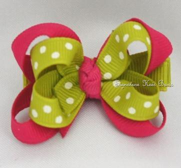 Lime and Shocking Pink Layered Baby Bow
