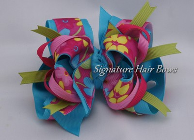 Super Spring Blooms Turquoise Bow