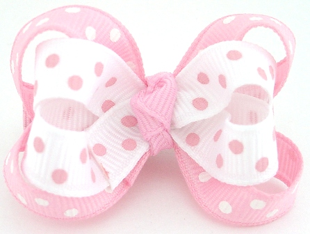 Tickle Me Pink Dots Layered Baby Bow