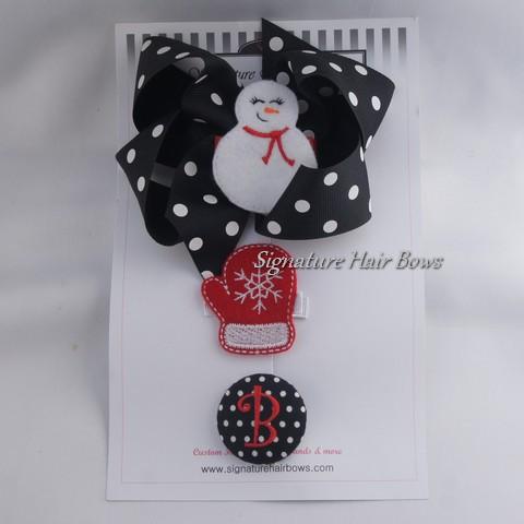 Black Dots Hair Bow Trio Set
