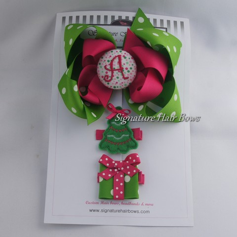 Christmas Green Hair Bow Trio Set