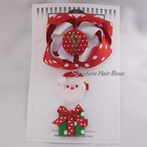 Christmas Red Hair Bow Trio Set