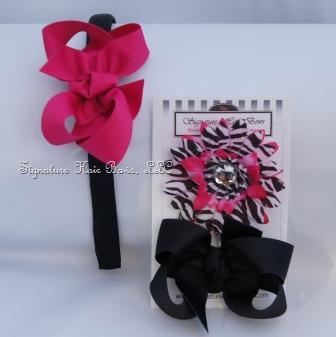 Dainty Headband Trio - Black and Shocking Pink Combo