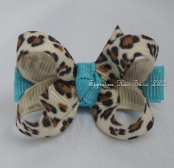 Turquoise Leopard Baby Bow