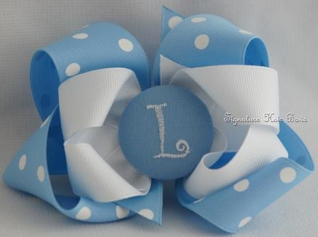 UNC Monogrammed Button Bow