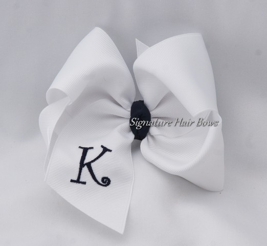 Southern Size Monogrammed School Uniform Hair Bow - White/Navy