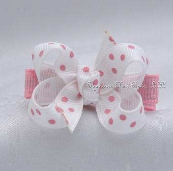 Pink and White Dots Baby Bow